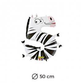 Globo Zebra Numero 5 Foil 50 cm