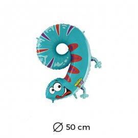 Globo Salamandra Numero 9 Foil 50 cm