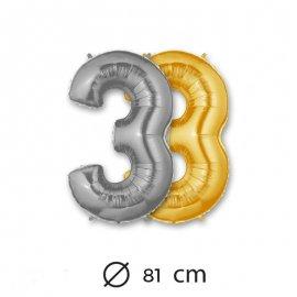 Globo Numero 3 Foil 80 cm