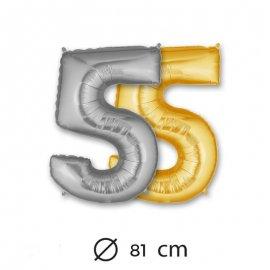 Globo Numero 5 Foil 81 cm