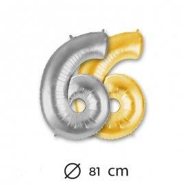 Globo Numero 6 Foil 81 cm