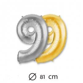 Globo Numero 9 Foil 80 cm