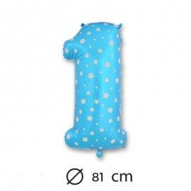 Globo Número 1 Foil Azul con Estrella 81 cm