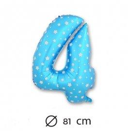 Globo Número 4 Foil Azul con Estrella 81 cm