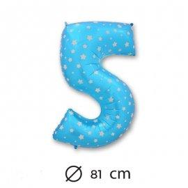 Globo Número 5 Foil Azul con Estrella 81 cm