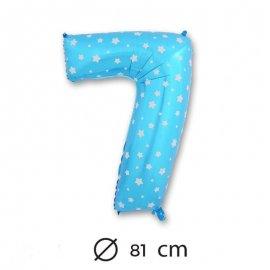 Globo Número 7 Foil Azul con Estrella 81 cm