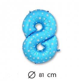 Globo Número 8 Foil Azul con Estrella 81 cm