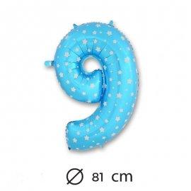 Globo Número 9 Foil Azul con Estrella 81 cm