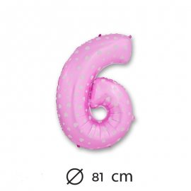 Globo Número 6 Foil Rosa con Corazones 81 cm