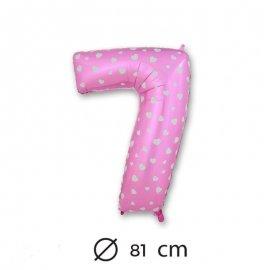 Globo Número 7 Foil Rosa con Corazones 81 cm