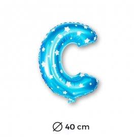Globo Letra C Foil en Azul con Estrellas 40 cm