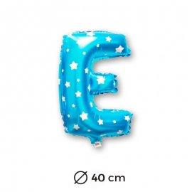 Globo Letra E Foil en Azul con Estrellas 40 cm