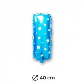 Globo Letra I Foil en Azul con Estrellas 40 cm