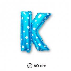 Globo Letra K Foil en Azul con Estrellas 40 cm
