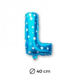 Globo Letra L Foil en Azul con Estrellas 40 cm