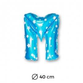 Globo Letra M Foil en Azul con Estrellas 40 cm