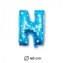 Globo Letra N Foil en Azul con Estrellas 40 cm