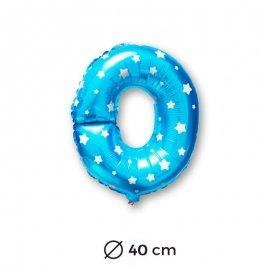 Globo Letra O Foil en Azul con Estrellas 40 cm