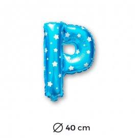 Globo Letra P Foil en Azul con Estrellas 40 cm