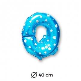 Globo Letra Q Foil en Azul con Estrellas 40 cm