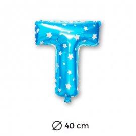 Globo Letra T Foil en Azul con Estrellas 40 cm