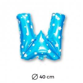 Globo Letra W Foil en Azul con Estrellas 40 cm