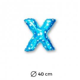 Globo Letra X Foil en Azul con Estrellas 40 cm