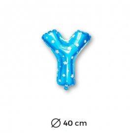Globo Letra Y Foil en Azul con Estrellas 40 cm