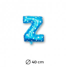 Globo Letra Z Foil en Azul con Estrellas 40 cm