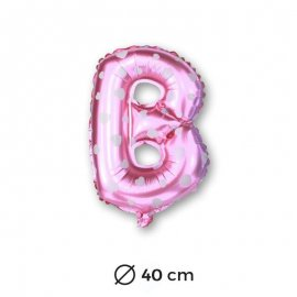 Globo Letra B Foil en Rosa con Corazones 40 cm