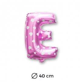Globo Letra E Foil en Rosa con Corazones 40 cm