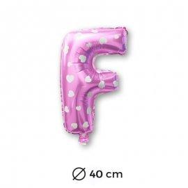 Globo Letra F Foil en Rosa con Corazones 40 cm