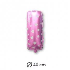 Globo Letra I Foil en Rosa con Corazones 40 cm