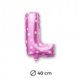 Globo Letra L Foil en Rosa con Corazones 40 cm