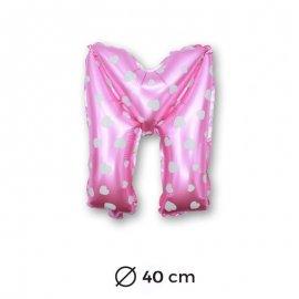 Globo Letra M Foil en Rosa con Corazones 40 cm