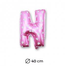 Globo Letra N Foil en Rosa con Corazones 40 cm