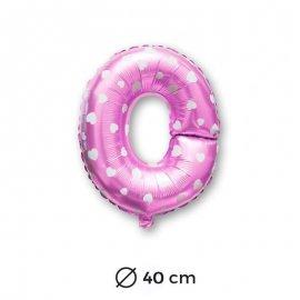 Globo Letra O Foil en Rosa con Corazones 40 cm