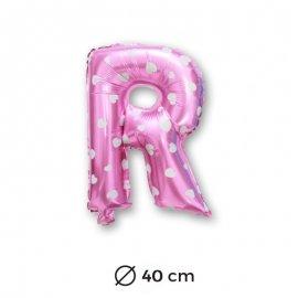 Globo Letra R Foil en Rosa con Corazones 40 cm