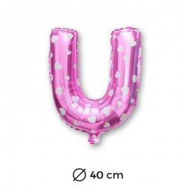 Globo Letra U Foil en Rosa con Corazones 40 cm