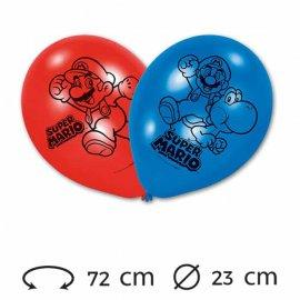 6 Globos 23 cm Super Mario