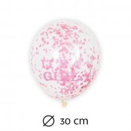 6 Globos de Confeti Niña 30 cm