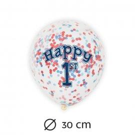 6 Globos con Confeti Primer Año Niño