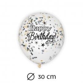 6 Globos con Confeti Happy Birthday Elegante