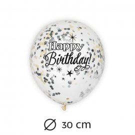 6 Globos con Confeti Happy Birthday Elegante