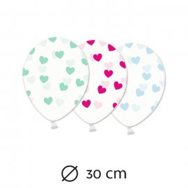 6 Globos Transparentes con Corazones 30 cm