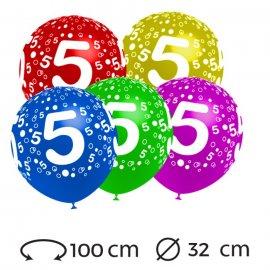 Globos Numero 5 Redondos 32 cm