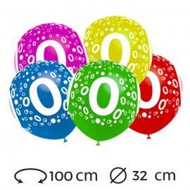 Globos Numero 0 Redondos 32 cm