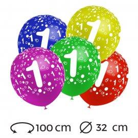Globos Numero 1 Redondos 32 cm