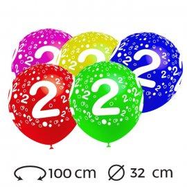 Globos Numero 2 Redondos 32 cm