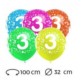Globos Numero 3 Redondos 32 cm